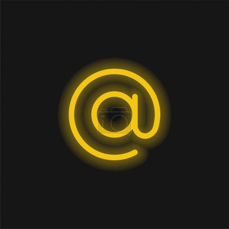 Illustration pour Au néon jaune brillant icône - image libre de droit