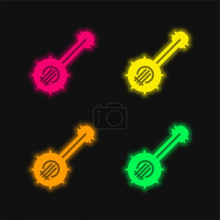 Illustration for Banjo four color glowing neon vector icon - Royalty Free Image