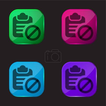 Illustration pour Icône de bouton en verre quatre couleurs interdite - image libre de droit