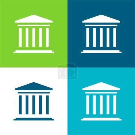 Illustration pour Ensemble d'icônes minimum Bank Flat quatre couleurs - image libre de droit