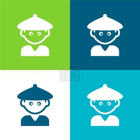 Illustration pour Garçon avec chapeau chinois plat quatre couleurs ensemble d'icône minimale - image libre de droit
