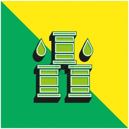 Barril verde y amarillo moderno logotipo del icono del vector 3d