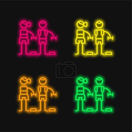 Illustration pour Bodypump quatre couleur brillant icône vectorielle néon - image libre de droit