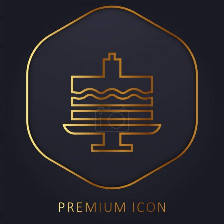 Illustration pour Gâteau d'anniversaire ligne d'or logo premium ou icône - image libre de droit