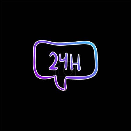 Illustration pour 24 heures dans la main de bulle de parole dessinée icône vectorielle de gradient bleu de signal commercial - image libre de droit
