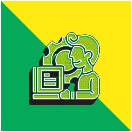 Illustration pour Application Logo vectoriel 3d moderne vert et jaune - image libre de droit