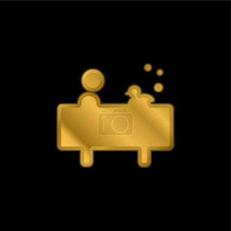Illustration pour Garçon dans le bain avec un canard plaqué or icône métallique ou logo vecteur - image libre de droit