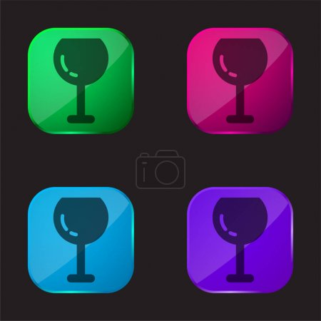 Illustration pour Grand verre à vin icône bouton en verre quatre couleurs - image libre de droit