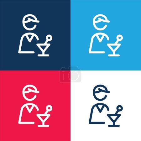 Illustration pour Ensemble d'icônes minime barman bleu et rouge quatre couleurs - image libre de droit