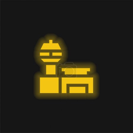 Illustration for Airport yellow glowing neon icon - Royalty Free Image