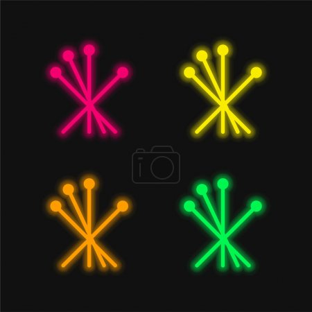 Photo for Acupuncture four color glowing neon vector icon - Royalty Free Image