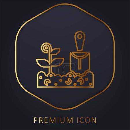 Illustration pour Agriculture ligne d'or logo premium ou icône - image libre de droit
