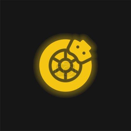 Illustration for Brake yellow glowing neon icon - Royalty Free Image