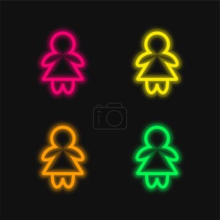 Illustration pour Bébé fille contour quatre couleur brillant néon vecteur icône - image libre de droit