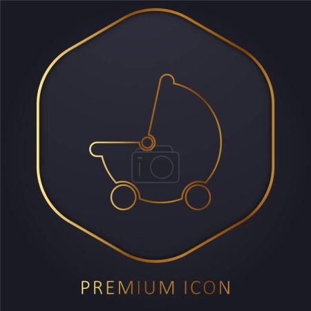 Photo for Baby Black Stroller Transport golden line premium logo or icon - Royalty Free Image