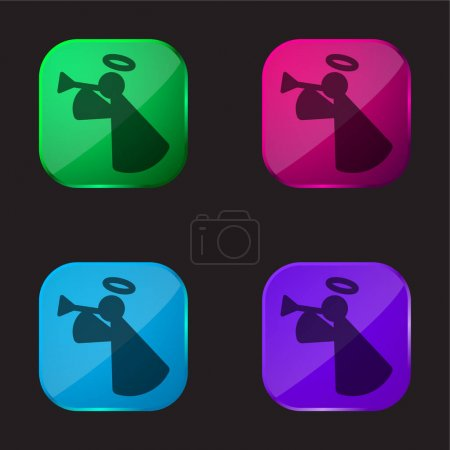 Illustration for Angel four color glass button icon - Royalty Free Image
