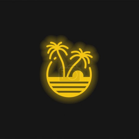 Photo for Beach yellow glowing neon icon - Royalty Free Image