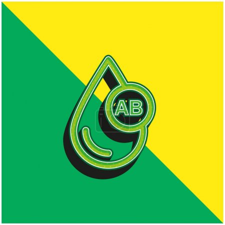 Photo for Blood Type AB Green and yellow modern 3d vector icon logo - Royalty Free Image