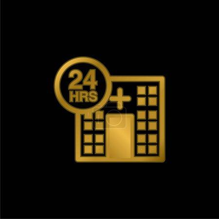 24 godziny Pomoc medyczna złoty metaliczny ikona lub wektor logo