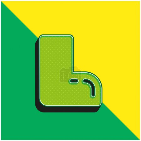 Illustration for Boot Green and yellow modern 3d vector icon logo - Royalty Free Image