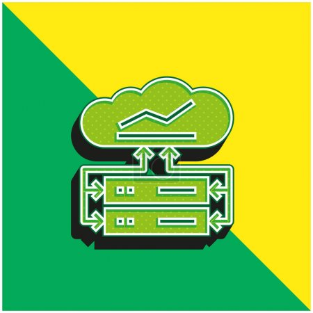 Illustration for Big Data Green and yellow modern 3d vector icon logo - Royalty Free Image