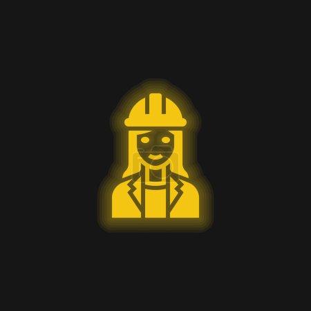 Photo pour Architecte jaune brillant icône néon - image libre de droit