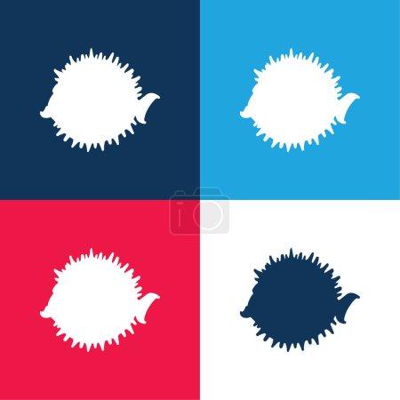Illustration pour Balloonfish Forme latérale bleu et rouge quatre couleurs ensemble d'icône minimale - image libre de droit