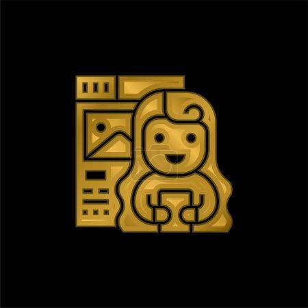 Photo pour Blogueur icône métallique plaqué or ou logo vecteur - image libre de droit