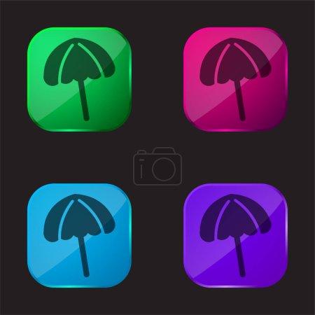 Illustration pour Parapluie de plage noir icône bouton en verre quatre couleurs - image libre de droit