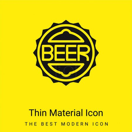 Illustration for Bottle Cap minimal bright yellow material icon - Royalty Free Image