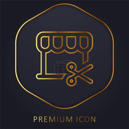 Illustration pour Barbershop ligne d'or logo premium ou icône - image libre de droit