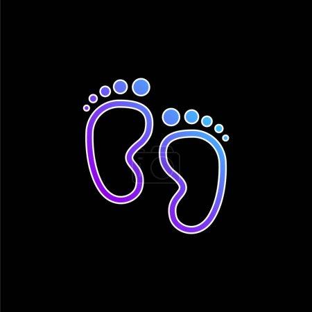 Bébé Empreintes bleu dégradé icône vectorielle