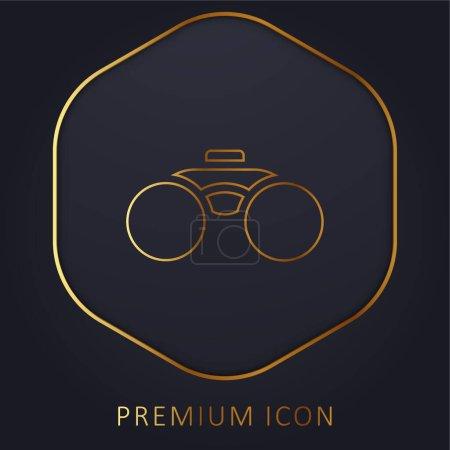 Illustration pour Jumelles Outil ligne dorée logo premium ou icône - image libre de droit