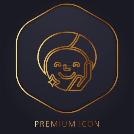 Illustration pour Traitement de beauté ligne d'or logo premium ou icône - image libre de droit