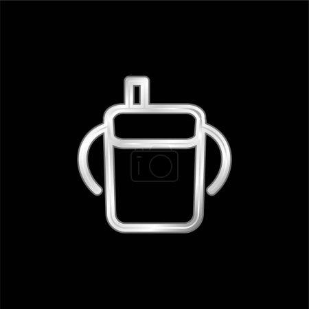 Photo pour Bébé bouteille à boire contour avec poignées latérales argent plaqué icône métallique - image libre de droit