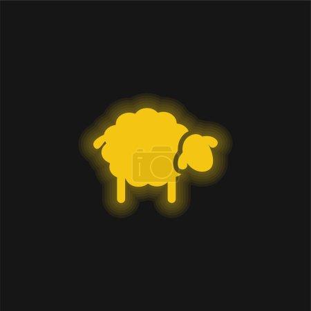 Illustration pour Black Sheep jaune néon brillant icône - image libre de droit