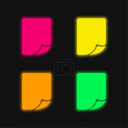 Blank Page Folded Corner four color glowing neon vector icon
