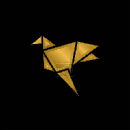 Illustration for Bird gold plated metalic icon or logo vector - Royalty Free Image