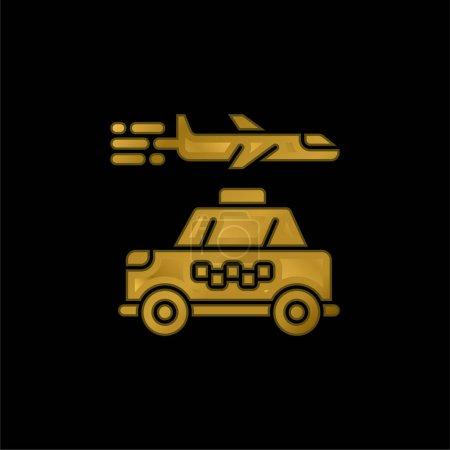 Illustration pour Icône métallique plaqué or de l'aéroport ou vecteur de logo - image libre de droit