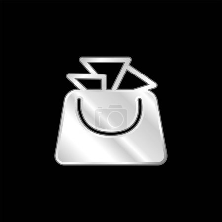 Illustration for Bag For Ladies silver plated metallic icon - Royalty Free Image