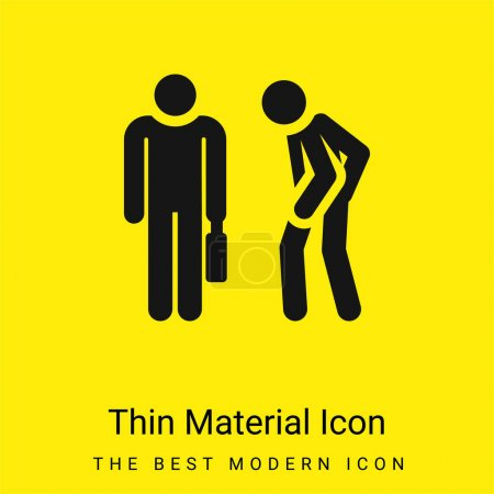Icono de material amarillo brillante mínimo enojado
