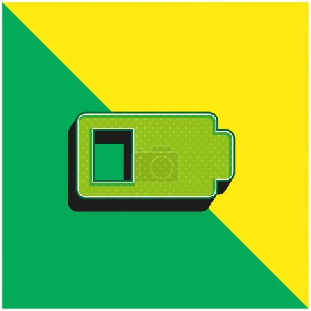 Illustration for Battery Status Sign With Less Than Half Energy Charge Green and yellow modern 3d vector icon logo - Royalty Free Image