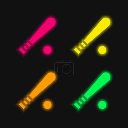 Photo pour Baseball chauve-souris quatre couleurs brillant icône vectorielle néon - image libre de droit