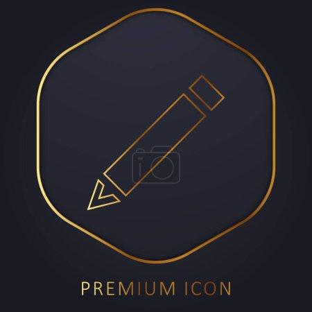 Illustration pour Crayon diagonal noir ligne dorée logo premium ou icône - image libre de droit