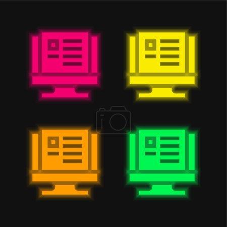 Illustration pour Bloguer quatre couleurs rougeoyantes icône vectorielle néon - image libre de droit