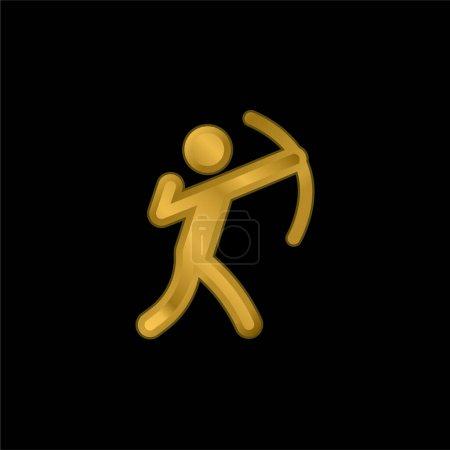 Illustration pour Tir à l'arc plaqué or icône métallique ou logo vecteur - image libre de droit