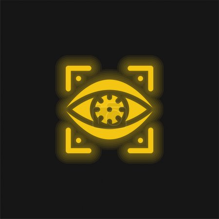 Illustration for Bionic Eye yellow glowing neon icon - Royalty Free Image