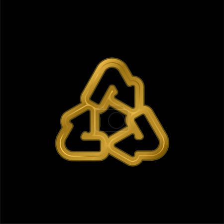 Arrows Recycling Triangle Outline vergoldetes metallisches Symbol oder Logo-Vektor