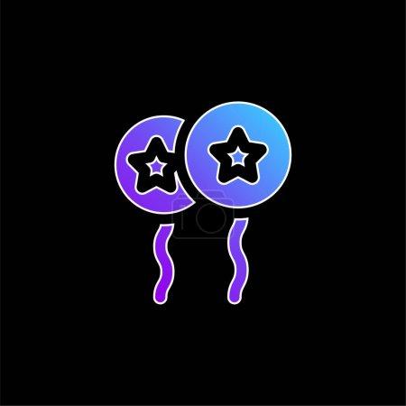 Illustration pour Ballons avec étoile bleu dégradé icône vectorielle - image libre de droit