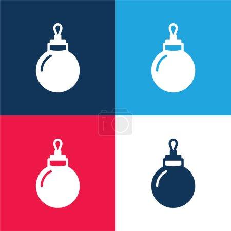 Photo pour Ensemble d'icônes minimales Bauble bleu et rouge à quatre couleurs - image libre de droit